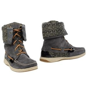 Sperry Top-Sider Grey Fold-Over Tweed Ankle Boot